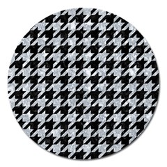 Houndstooth1 Black Marble & Gray Marble Magnet 5  (round) by trendistuff