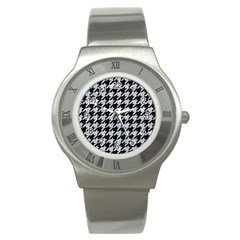 Houndstooth1 Black Marble & Gray Marble Stainless Steel Watch by trendistuff