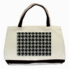 Houndstooth1 Black Marble & Gray Marble Basic Tote Bag by trendistuff