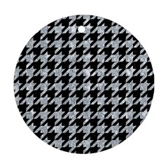 Houndstooth1 Black Marble & Gray Marble Round Ornament (two Sides) by trendistuff