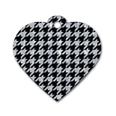 Houndstooth1 Black Marble & Gray Marble Dog Tag Heart (two Sides) by trendistuff