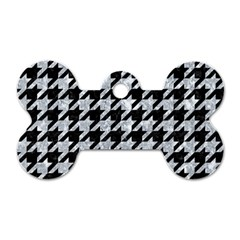 Houndstooth1 Black Marble & Gray Marble Dog Tag Bone (two Sides) by trendistuff