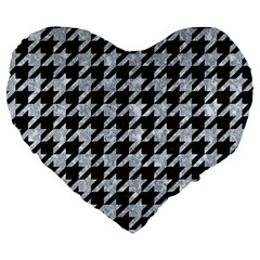 Houndstooth1 Black Marble & Gray Marble Large 19  Premium Heart Shape Cushion by trendistuff