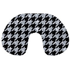 Houndstooth1 Black Marble & Gray Marble Travel Neck Pillow by trendistuff