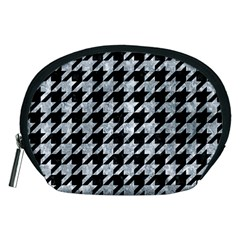 Houndstooth1 Black Marble & Gray Marble Accessory Pouch (medium) by trendistuff