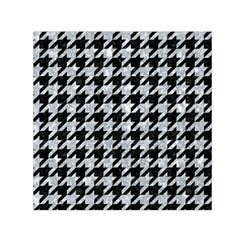 Houndstooth1 Black Marble & Gray Marble Small Satin Scarf (square) by trendistuff