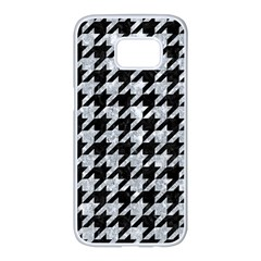 Houndstooth1 Black Marble & Gray Marble Samsung Galaxy S7 Edge White Seamless Case by trendistuff