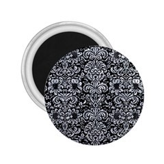 Damask2 Black Marble & Gray Marble 2 25  Magnet by trendistuff