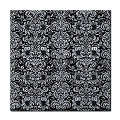 Damask2 Black Marble & Gray Marble Face Towel by trendistuff