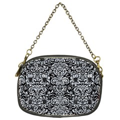 Damask2 Black Marble & Gray Marble Chain Purse (one Side) by trendistuff