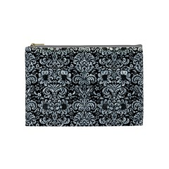 Damask2 Black Marble & Gray Marble Cosmetic Bag (medium) by trendistuff