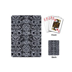 Damask2 Black Marble & Gray Marble Playing Cards (mini) by trendistuff
