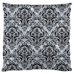 Damask1 Black Marble & Gray Marble (r) Large Cushion Case (one Side) by trendistuff