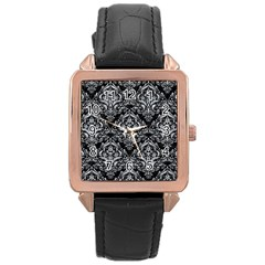 Damask1 Black Marble & Gray Marble Rose Gold Leather Watch  by trendistuff