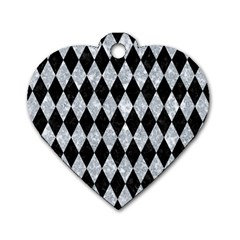 Diamond1 Black Marble & Gray Marble Dog Tag Heart (two Sides) by trendistuff