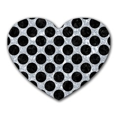 Circles2 Black Marble & Gray Marble (r) Heart Mousepad by trendistuff