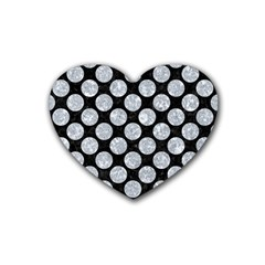 Circles2 Black Marble & Gray Marble Rubber Coaster (heart) by trendistuff