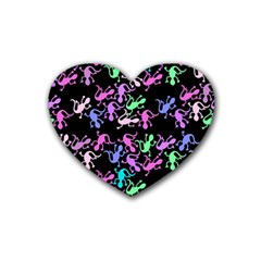 Purple Lizards Pattern Rubber Coaster (heart)  by Valentinaart
