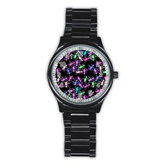 Purple Lizards Pattern Stainless Steel Round Watch by Valentinaart