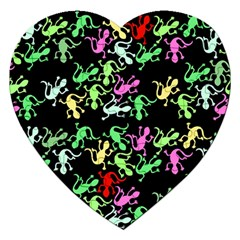 Playful Lizards Pattern Jigsaw Puzzle (heart) by Valentinaart