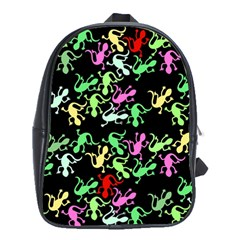 Playful Lizards Pattern School Bags (xl)  by Valentinaart