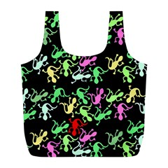 Playful Lizards Pattern Full Print Recycle Bags (l)  by Valentinaart