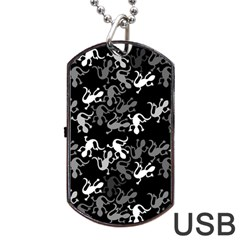 Gray Lizards Dog Tag Usb Flash (one Side) by Valentinaart