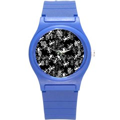 Gray Lizards Round Plastic Sport Watch (s) by Valentinaart