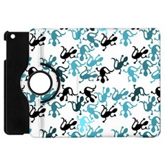 Lizards Pattern   Blue Apple Ipad Mini Flip 360 Case by Valentinaart