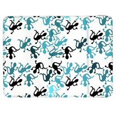 Lizards Pattern   Blue Samsung Galaxy Tab 7  P1000 Flip Case by Valentinaart