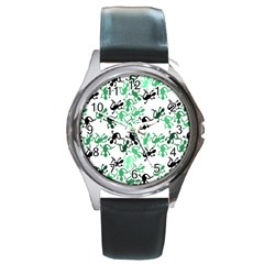 Lizards Pattern   Green Round Metal Watch by Valentinaart