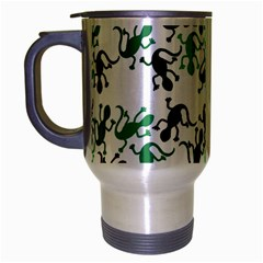Lizards Pattern   Green Travel Mug (silver Gray) by Valentinaart