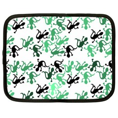 Lizards Pattern   Green Netbook Case (large) by Valentinaart