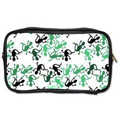 Lizards Pattern   Green Toiletries Bags 2 Side by Valentinaart