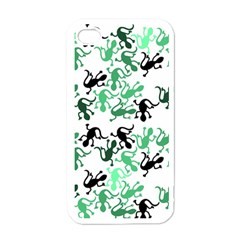 Lizards Pattern   Green Apple Iphone 4 Case (white) by Valentinaart