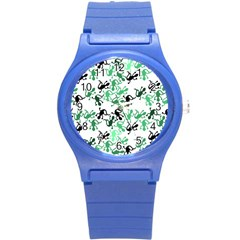 Lizards Pattern   Green Round Plastic Sport Watch (s)