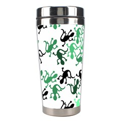Lizards Pattern   Green Stainless Steel Travel Tumblers by Valentinaart