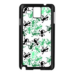 Lizards Pattern   Green Samsung Galaxy Note 3 N9005 Case (black) by Valentinaart