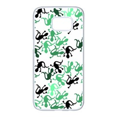 Lizards Pattern   Green Samsung Galaxy S7 Edge White Seamless Case