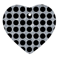 Circles1 Black Marble & Gray Marble (r) Ornament (heart) by trendistuff