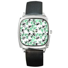 Lizards Pattern   Green Square Metal Watch by Valentinaart