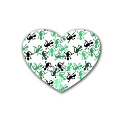 Lizards Pattern   Green Heart Coaster (4 Pack)  by Valentinaart