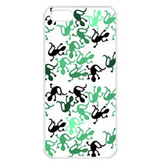 Lizards Pattern   Green Apple Iphone 5 Seamless Case (white)