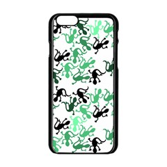 Lizards Pattern   Green Apple Iphone 6/6s Black Enamel Case by Valentinaart