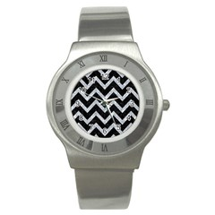 Chevron9 Black Marble & Gray Marble Stainless Steel Watch by trendistuff