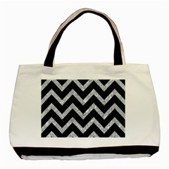 Chevron9 Black Marble & Gray Marble Basic Tote Bag (two Sides)