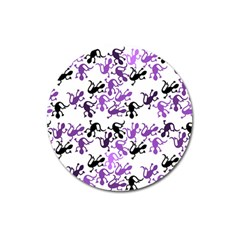 Lizards Pattern   Purple Magnet 3  (round) by Valentinaart