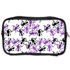Lizards Pattern   Purple Toiletries Bags 2 Side by Valentinaart