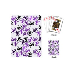 Lizards Pattern   Purple Playing Cards (mini)  by Valentinaart