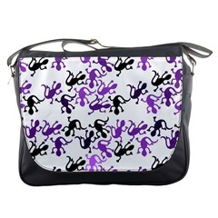 Lizards Pattern   Purple Messenger Bags by Valentinaart